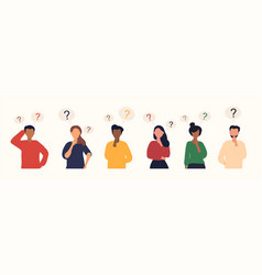 Collection portraits thoughtful people vector