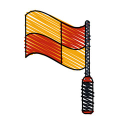 Color crayon stripe cartoon red and yellow vector
