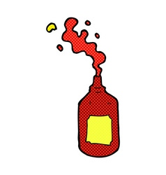 Comic cartoon squirting ketchup bottle vector