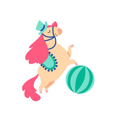 Cute horse animal performing in circus show vector