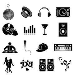 DJ music icons set vector image