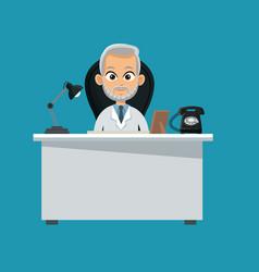 doctor professional sitting desk vector image