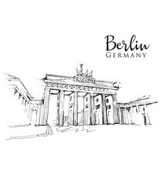 drawing sketch brandenburg gate vector image