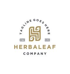 Elegant letter h with leaf logo design vector