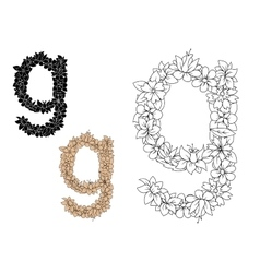 Floral alphabet lowercase letter g vector image