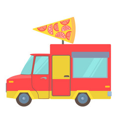 Food truck with slice of pizza icon cartoon style vector