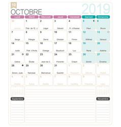 French calendar - october 2019 vector