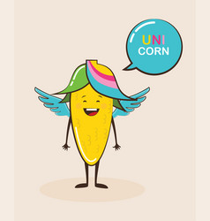 funny magical corn character with funny quote vector image