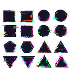 glitch black frames different shape distorted vector image
