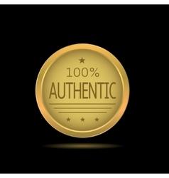 Golden authentic label vector image