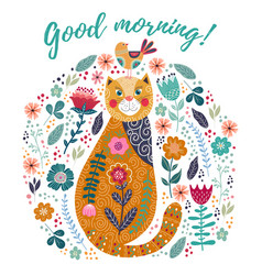 Good morning art colorful vector