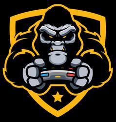 gorilla gamer mascot vector image