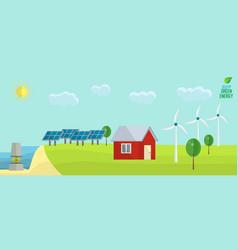 green energy usage concept solar wind tide non vector image