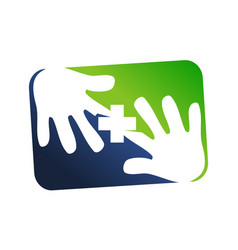 Hand and cross healthy care vector