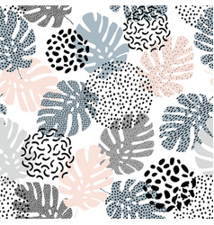 Hand drawn tropical summer background monstera vector