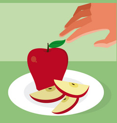 Hand grabbing an apple vector