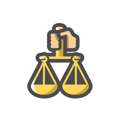 Hand with justice scales icon cartoon vector