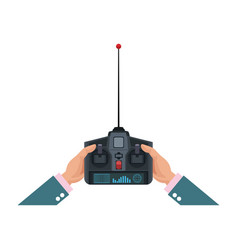 Hands holding control remote advanced for drones vector