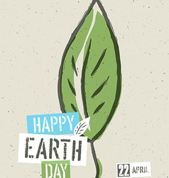 Happy Earth Day Poster Green leaf symbolic on the vector image