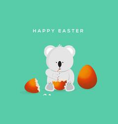 Happy easter funny koala drinking eggs vector