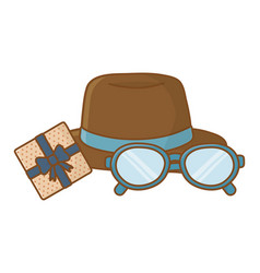 hat with glasses and gift box vector image