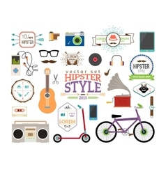 Hipster infographics elements and labels vector image