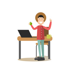 idea man in flat style vector image