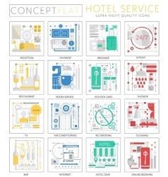 infographics mini concept hotel service icons vector image
