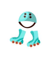 kids sport roller and skate equipment - save skate vector image