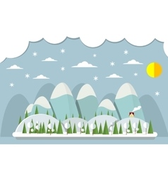 Landscape in flat design with house and vector image