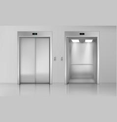 Lift doors close and open empty elevator cabin vector
