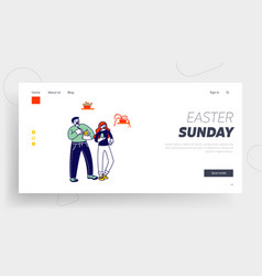 Man and woman characters painting eggs for easter vector