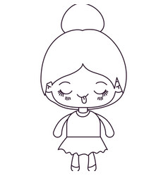 Monochrome silhouette of kawaii cute little girl vector