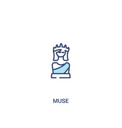 Muse concept 2 colored icon simple line element vector