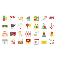 new year party elements flat icon set 2 vector image