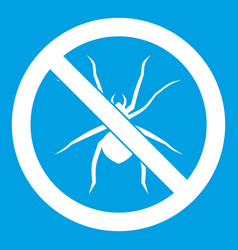 No spider sign icon white vector