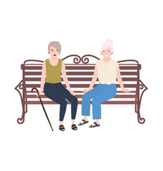 Pair of smiling elderly women sitting on bench and vector
