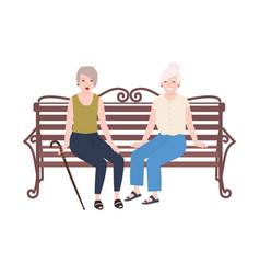 Pair of smiling elderly women sitting on bench vector