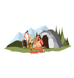Prehistoric period people sewing clothes from fur vector