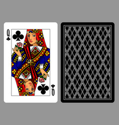Queen of clubs playing card and the backside vector