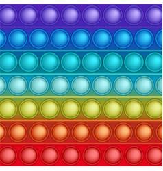 Rainbow trendy pop it fidget toy background vector