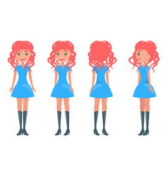 Redhead girl in modern elegant look young girls vector