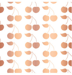 Rose gold foil cherry seamless pattern vector