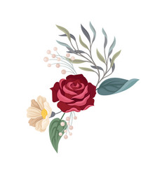 Rose with a white flower on a vector