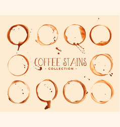 Set coffee glass stain textures vector