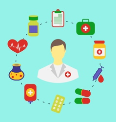 set flat medical icons for web design - vector image