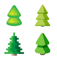 set of 3d fir trees vector image