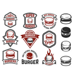Set of burger labels design elements for logo vector