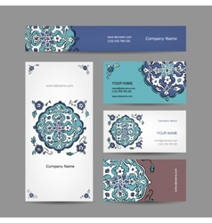 Set of business cards design turkish ornament vector