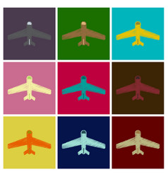 set of flat icons in shading style aircraft vector image